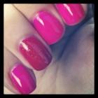Glitter finger manicure