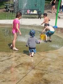 Splash pad fun with the big kids